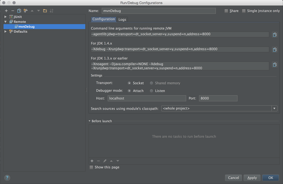 Intellij Run Configuration Java